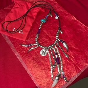 BNWOT UNO DE 50 Murano, Silver & Leather Necklace